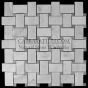 Carrara Marble Italian White Bianco Carrera Basketweave Mosaic Tile with Bardiglio Gray Dots Polished