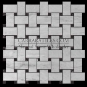 Carrara Marble Italian White Bianco Carrera Basketweave Mosaic Tile with Negro Marquina Black Dots Polished