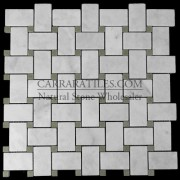Carrara Marble Italian White Bianco Carrera Basketweave Mosaic Tile with Green Dots Polished