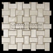 Botticino Marble Basketweave Mosaic Tile with Light Emperador Dots Polished