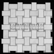 Statuary Marble Italian White Statuario Basketweave Mosaic Tile with Bardiglio Gray Dots Honed
