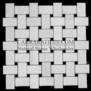 Statuary Marble Italian White Statuario Basketweave Mosaic Tile with Negro Marquina Black Dots Honed
