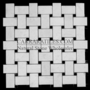 Statuary Marble Italian White Statuario Basketweave Mosaic Tile with Negro Marquina Black Dots Polished